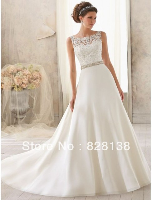 Satin Bateau Neckline A Line Wedding Dress With Lace Appliqued