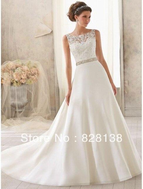 Satin Bateau Neckline A line Wedding Dress with Lace Appliqued ...