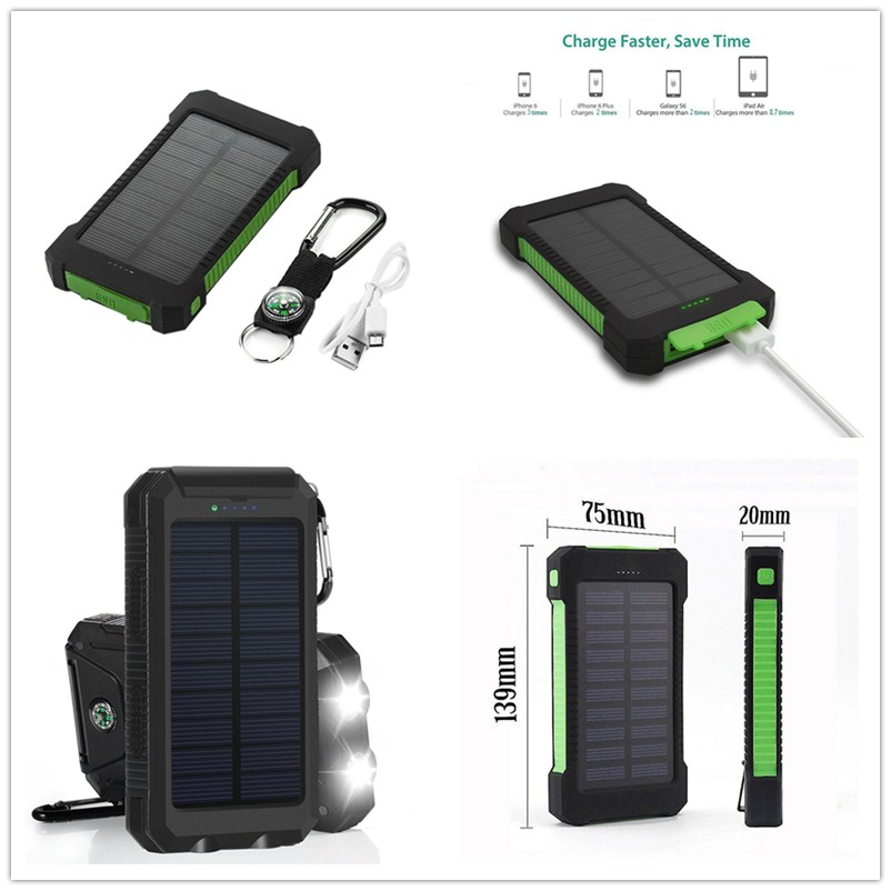 1pcs Diy Waterproof Dual Usb No Battery Solar Led 50000mah Power Bank Charger Case Kit 14.9cm X 7.4cm X 1.8cm Mobile Phone Accessories