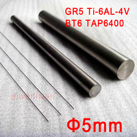 1pcs 5mm 150mm length Grade 5 gr5 titanium Ti Ti 6AL 4V bar titanium alloy rod BT6 TAP6400 for ultrasonic medical treatment