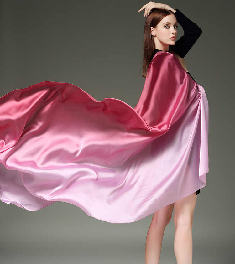Untuk Musim Panas Sarung Satin Wanita Syal Foulard Femme Sutra Syal dan Membungkus Besar Ukuran 190*100 Cm