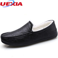 UEXIA Men Shoes Fashion Flats Suede Loafers Driving Casual Shoes With Fur Warm Winter Platform Boats