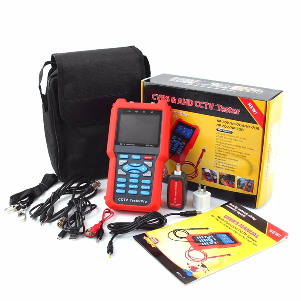 NF-702 Multi-function LCD CCTV Tester Line Finder Wire Tracker Diagnose Tone Tool Kit LAN Network Cable Tester nf 806r communication cable wire tone tracker combo with carrying pouch 2 x 6f22 9v