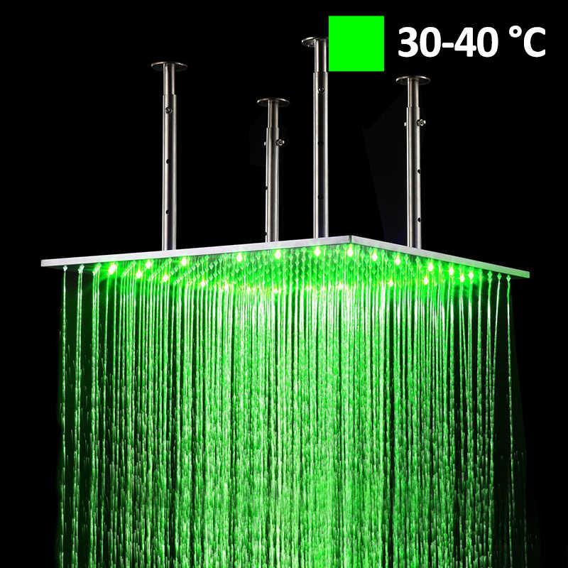 Роскошный 20 дюймов 50 см светодиодный Хромовая ливневая квадратная душевая головка для ванной комнаты смеситель для душа аксессуары Топ над опрыскивателем