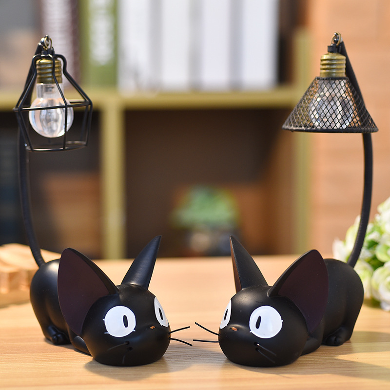 Night time mild Mini cute black cat desk resin miniatures residence bed room ornament crafts present Luminaria evening lamp children present Collectible figurines & Miniatures, Low-cost Collectible figurines &...