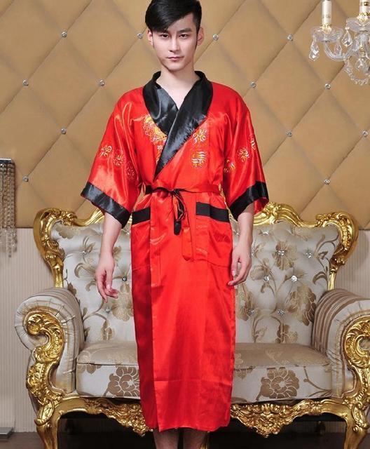 Venda quente reversível Twoface homens Satin borde Robe Kimono vestido dragão YF1307