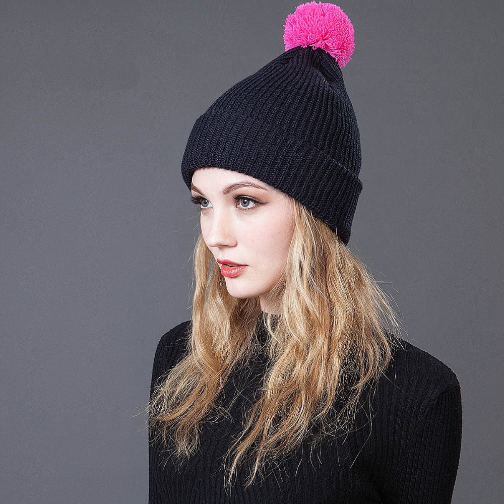 CaiZhongHai / B57 solid color woolcn Pom poms Winter Hats For Women Men Beanie Knit Hats Warm Skullies Beanie Caps wholesale two fur ball pompon solid beanie hats pom poms hats winter warm skullies