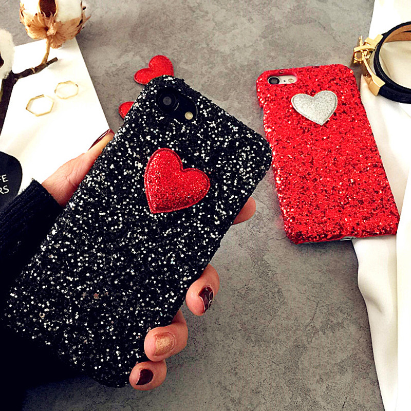 Luxury Bling Love Heart Pattern Case For iPhone 7 7 Plus 6 6S Plus Glitter Hard PC Phone Back Cover Funda Coque for iPhone7