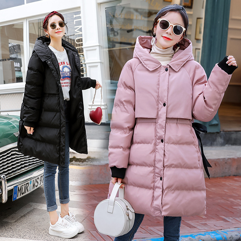 Maternity Women New Moms Mid-long Hooded Down Cotton Cardigan Coat Fashion Slim Waist Warm Puffer Outdoor Winter Jackets