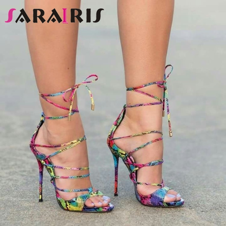 SARAIRIS Brand New Big Size 47 Sexy Colorful Thin High Heels Women Shoes Lady Summer Party ankle-wrap Shoes Woman Sandals 2019