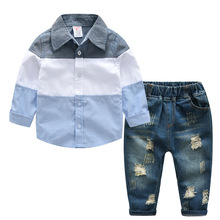 Baby Boy Clothes Children Clothing Cotton 2019 children's spring long-sleeved shirt + hole denim suit Kids Clothes free shipping new boy denim tiger costume cartoon boy costume boy clothing suit kids cotton long sleeved shirt denim trousers