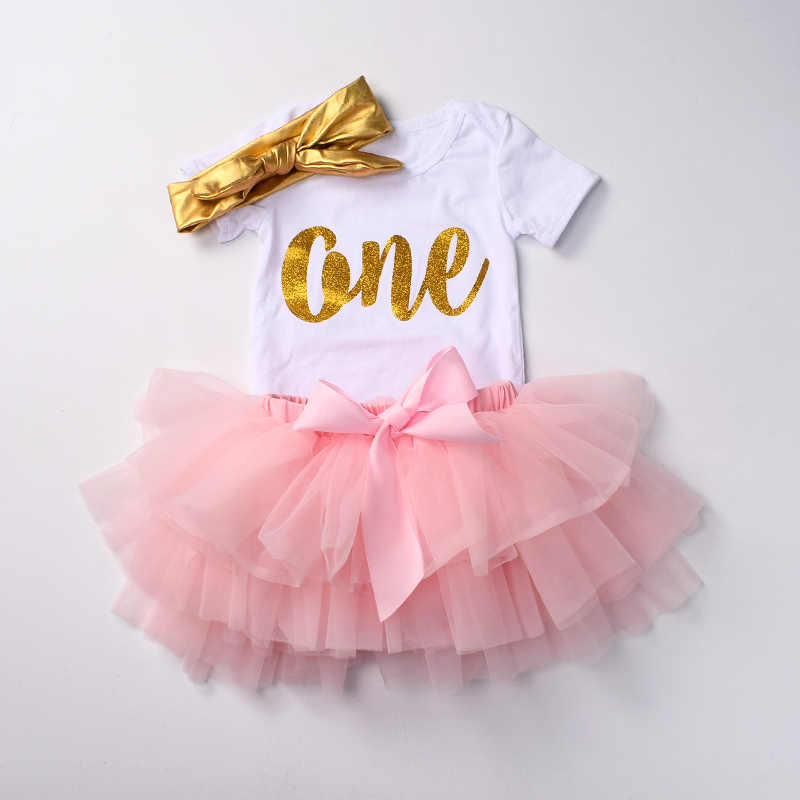 70c422e16693 Baby girls First Birthday Outfits Newborn tutu sets 3 pcs bodysuit set  White romper top Bloomers