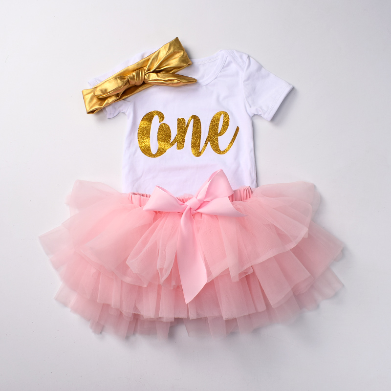 Baby girls First Birthday Outfits Newborn tutu sets 3 pcs bodysuit set White romper top Bloomers diaper cover sets 0-24 Mo