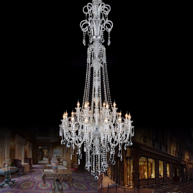 H2.1M large Led candle holder chandelier crystal light for villa hotel church extra Long stair light chandelier Led candelabro