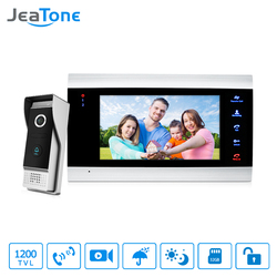 JeaTone 7 цветной видеодомофон дверной звонок Домофон 1200TVL Высокое разрешение разблокировка дверной звонок комплект домашней безопасности