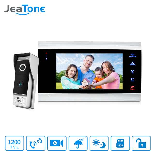 "JeaTone 7"" Color Video Door Phone Doorbell Intercom System 1200TVL High Resolution Release Unlock Doorbell  Home Security Kit"