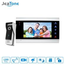 JeaTone 7″ Color Video Door Phone Doorbell Intercom System 1200TVL High Resolution Release Unlock Doorbell  Home Security Kit