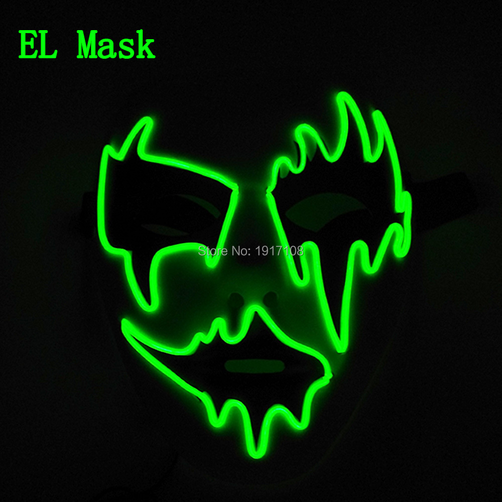 Free Shipping 10 Color Optional EL wire mask halloween props by Sound Activated LED Mask For wedding Decoration