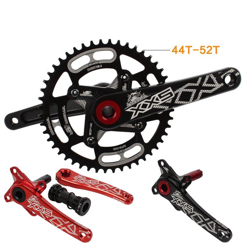 MTB mountain bike hollow integral crankset Aluminum alloy crank 44T 46T 50T 52T chainring bicycle crank wheel звезда rotor chainring bcd110x5 outer black to36 52t c01 502 09010a 0