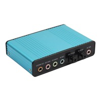 Professional External Blue USB 6 Channel 5 1 External Audio Music Sound Card Soundcard For Laptop