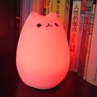 Cat Light Color Changing Silicone Cat Night Lights Bedside Lamp 2 Modes Children Cute Night Lamp
