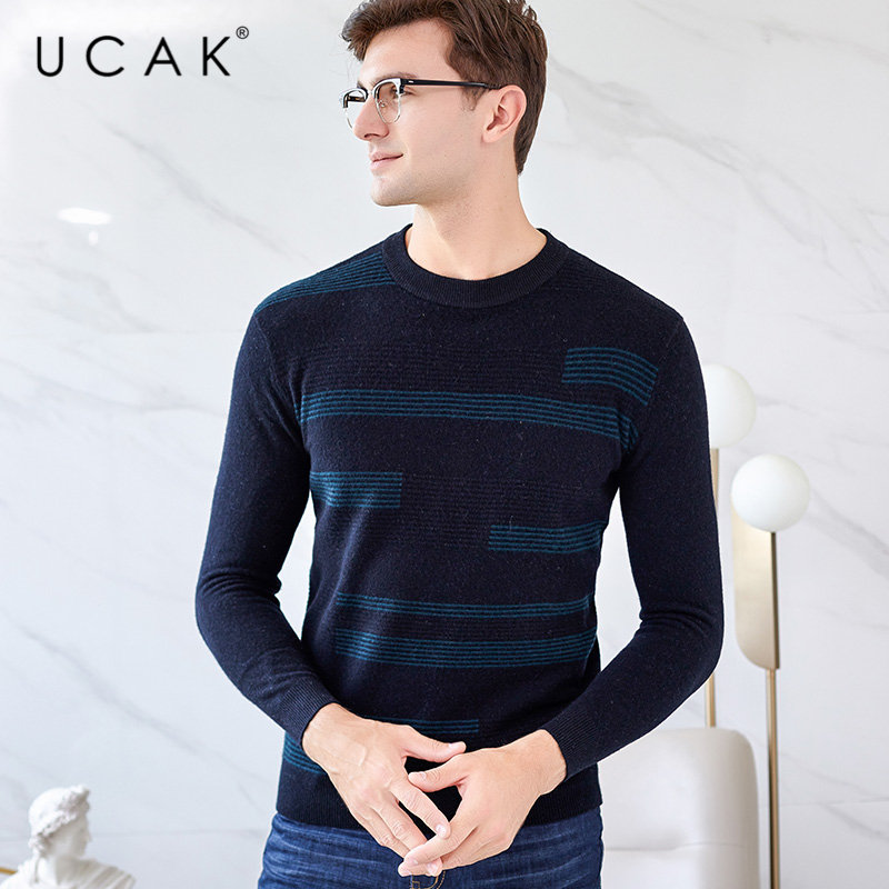 UCAK Brand Merino Wool Sweater Men Clothes 2019 New Arrival Autumn Winter Cashmere Pullover Men Sweaters O-Neck Pull Homme U3032