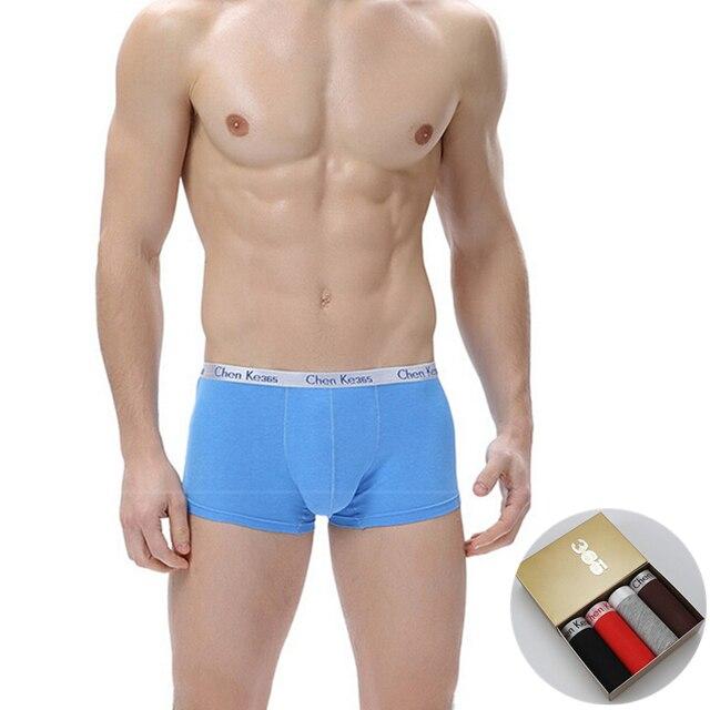 4PCS/BOX 2017 Mens Cotton Boxers Shorts Panties Hot Sale Super Elastic Breathable Underwear Male Comfortable Underpants L-XXL