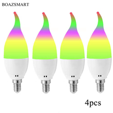 Smart LED Light E14 Candelabra Base 5W,Compatible with Amazon Alexa/Google/Siri/IFTTT,Multicolor RGBW No Hub Required Bulb(4pcs)