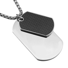 HIP Punk Vintage Silver Color Stainless Steel Double Dog Tag Pendants Necklaces for Men Jewelry