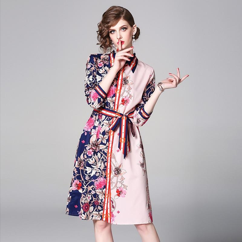 PADEGAO Women Dress 2019 Summer Party Night New Styling Lapel Long Sleeve Single-Row Button Print Tie Spring