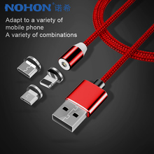 NOHON Nylon Lighting Magnetic Charge Cables Micro USB Type-C 8 Pin For iPhone 7 X iOS Android Universal Fast Charging Cable 1M