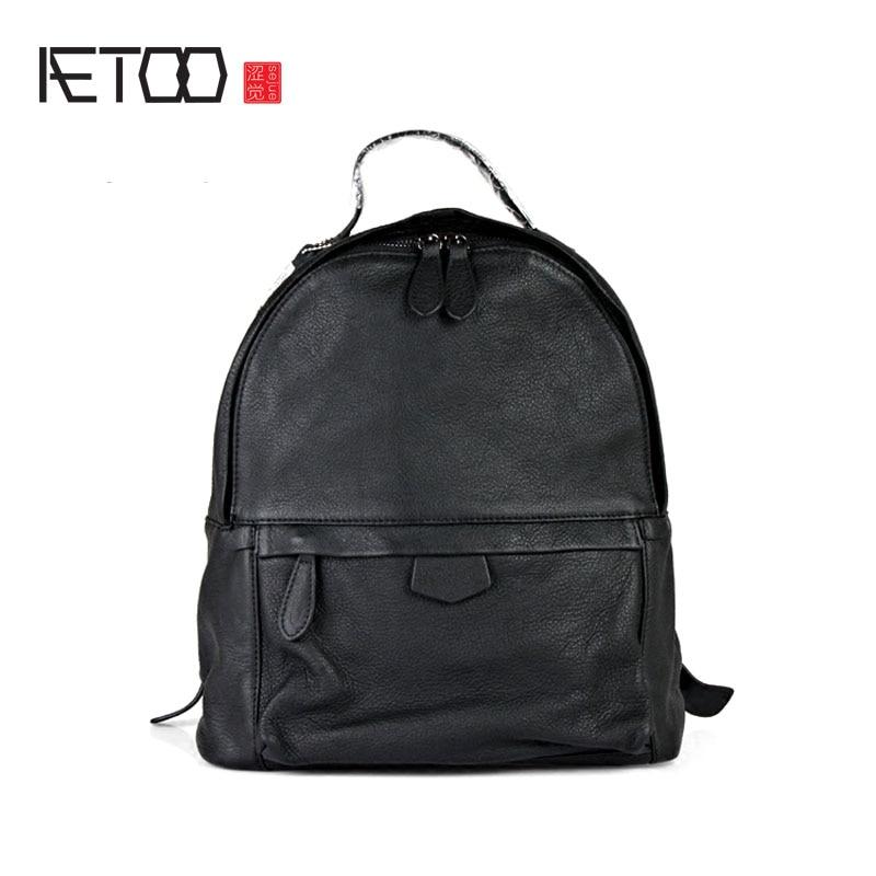 AETOO Simple leather shoulder bag ladies big bag head soft leather cowhide backpack men Korean version travel bag tide
