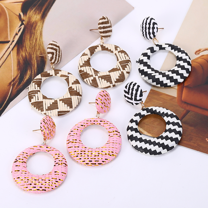 Personality Wooden Rattan Knit Drop Earrings Lady Fashion Geometric Dangle Za Jewelry 2019 Wholesale
