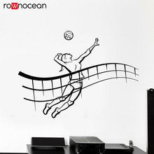 Girl Player Volleyball Game Ball Beach Sport Vinyl Wall Stickers Home Decor Teen Bedroom Decals Removable Mural Wallpaper 3460
