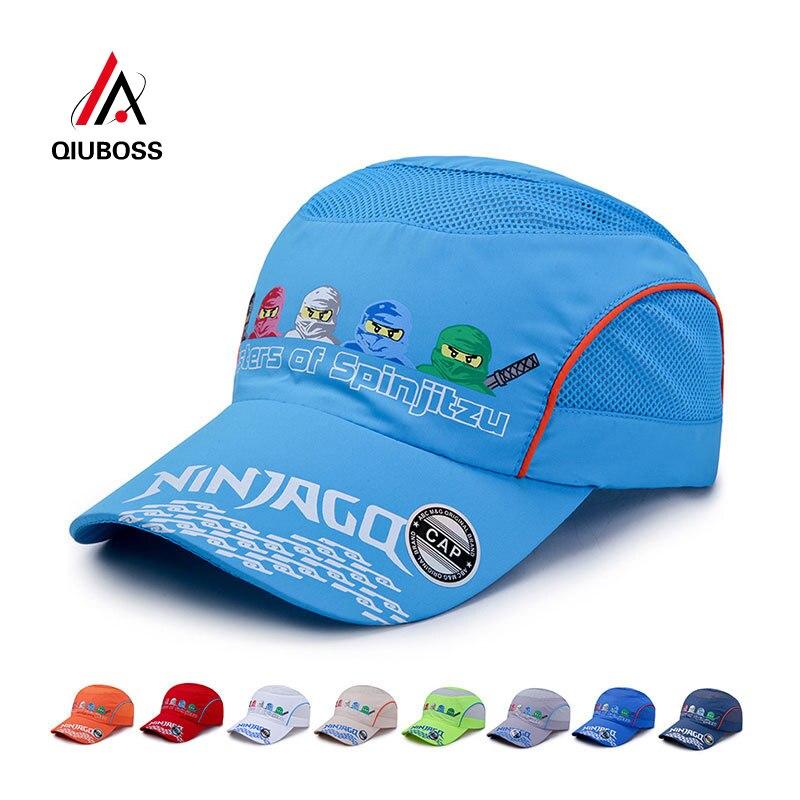 QIUBOSS Summer Fast Dry Children Sport   Baseball     Cap   Cartoon Ninja Printting Net   Cap   Kids Student Camping Hat Boys Girls Sunhat