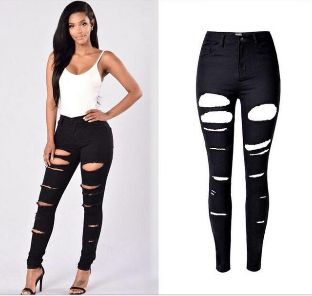 a68ac8d7a € 23.12  Femmes Sexy Denim noir Stretch Jeans détruire jambe Skinny déchiré  pantalons en difficulté taille haute petit ami Jeans dans Jeans de ...