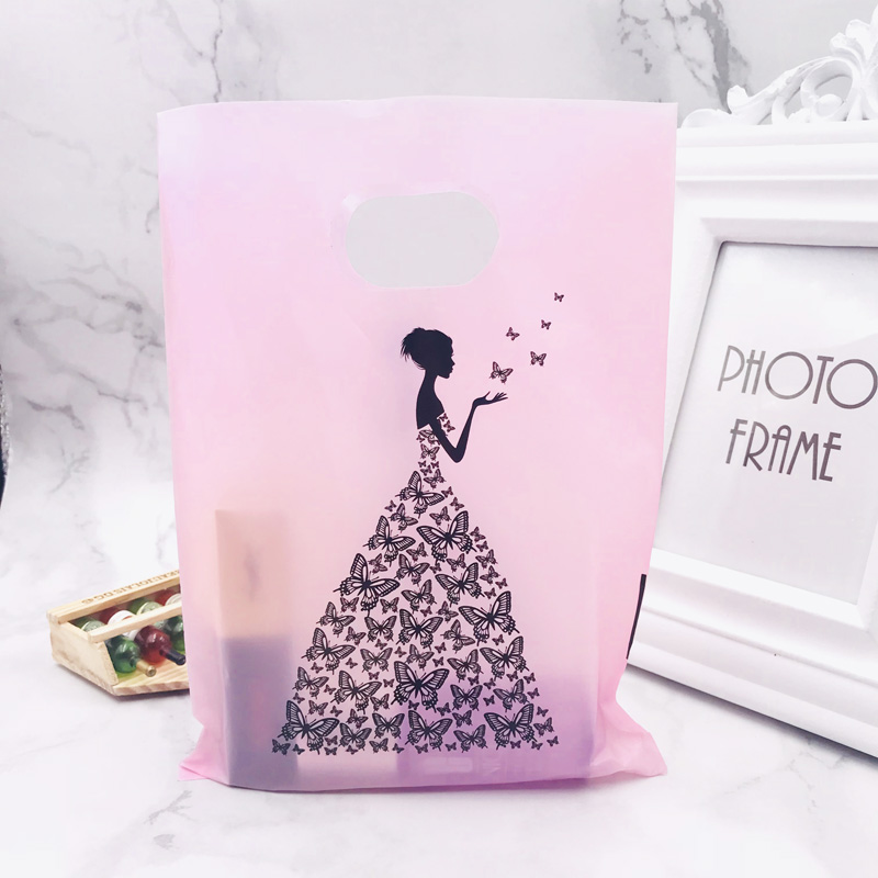 100pcs/lot Pink Plastic Gift Bag Boutique Carrier Shopping Wedding Bags 15X20CM Black Girl Print Plastic Gift Bags With Handles