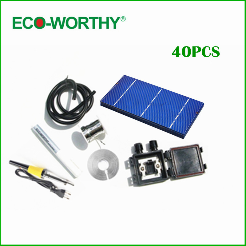 40 pcs 3x6 polycystalline solar cell kit, DIY solar panel for 12v battery ,free shipping 20a 12 24v solar regulator with remote meter for duo battery charging