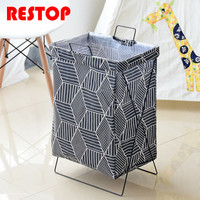 RESTOP Folding Iron Frame Canvas Laundry Basket Washing Laundry Bag Hamper Storage Dirty Clothing Bags Toy Storage Bag RES1051