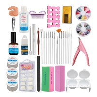Anmas Rucci Nail Art Kit Sets UV Gel Cuticle oil Cleanser plus Side Clipper Nail Glue Tools
