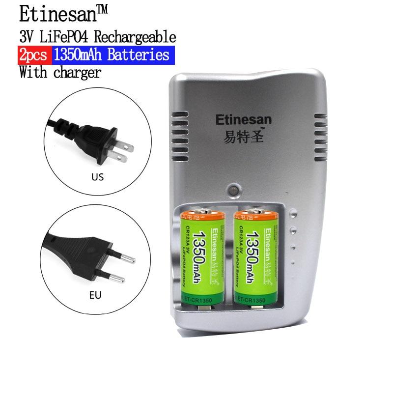 Etinesan 1350 mAh CR123A LiFePo4 batterie Rechargeable + 2 fentes chargeur Intelligent Intelligent pour batterie 3 V CR 123A