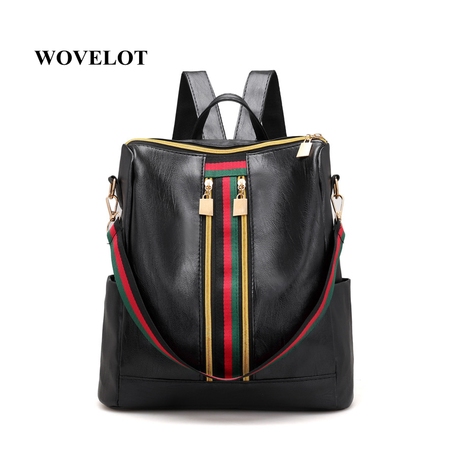 Leisure Simple Zipper Women Travel Stripe Small Backpacks