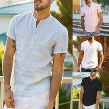 Новое поступление, летние рубашки с короткими рукавами для мужчин, лен, белый, сплошной цвет, облегающие, плюс размер, без воротника, топы