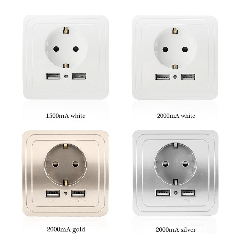Mur Puissance avec usb prise 5 V 2A ou 1.5A Double Mur Socket UE Ports Chargeur 16A cuisine Sortie de courant Électrique 3 Couleur