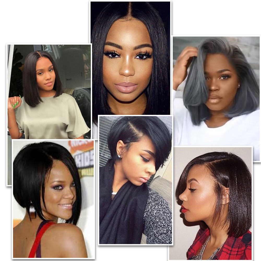 Image 3 - Lace Front Human Hair Wigs Blonde Natural Color Brazilian Remy Hair Short Bob Wig with Pre Plucked Hairline Blonde 613#-in Human Hair Lace Wigs from Hair Extensions & Wigs