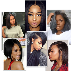 Image 3 - Lace Front Human Hair Wigs Blonde Natural Color Brazilian Remy Hair Short Bob Wig with Pre Plucked Hairline Blonde 613#