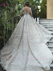 Image 3 - Waulizane Luxury V Neckline Of Champagne Colro Ball Gown Wedding Dress Off The Shoulder Bridal Dress