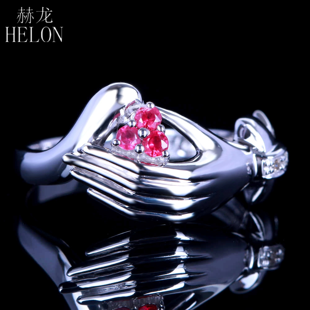 HELON Unique Art Deco Jewelry Solid 10K Solid White Gold 100% Genuine Natural Diamonds & Ruby Engagement Wedding Fine Ring Band natural ruby solid 14k white gold women girl engagement ring wedding band leaf art deco promise ring romantic cute thin