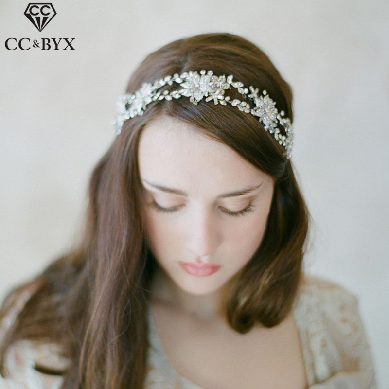 CC Headband For Girl Crown Luxury Hairbands Romantic Double Row Crystal Wedding Hair Accessories For Bridal Jewelry Gifts O035