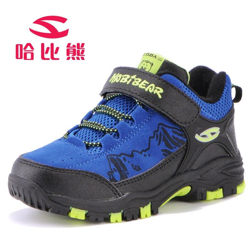 Hobibear 2017 Outdoor Kids Outdoor Hiking Shoes Anti-Slippery Boys Sport Shoes Waterproof Mountaineering Shoes Velvet Winter